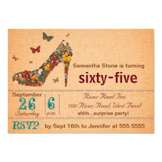 Schmetterlings-Absatz-65. Geburtstag laden ein 12,7 X 17,8 Cm Einladungskarte