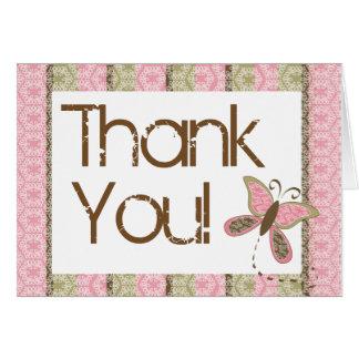 Schmetterlings-Babyparty danken Ihnen Notecard Karte