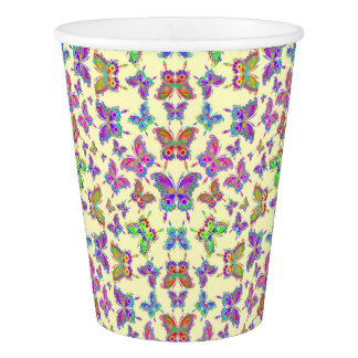 Schmetterlings-bunte Tätowierungs-Art Pappbecher