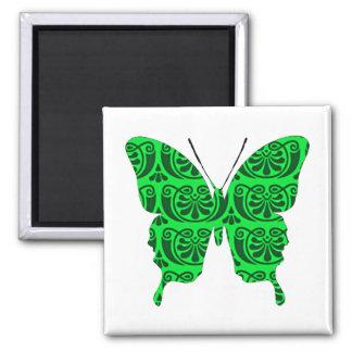 Schmetterlings-Collagen-viktorianisches Grün Quadratischer Magnet