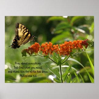 Schmetterlings-Fotophilippians-Bibel-Versplakat Poster