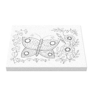 Schmetterlings-Garten-Linie Kunst-Entwurf Leinwanddruck