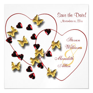 Schmetterlings-Herzen Bling Save the Date Magnetische Karte