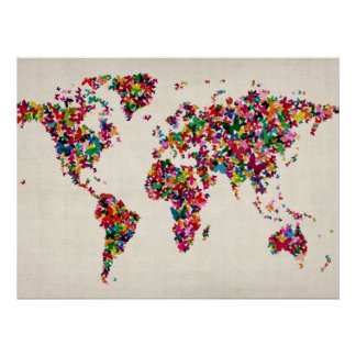 Schmetterlings-Karte der Weltkarte Poster