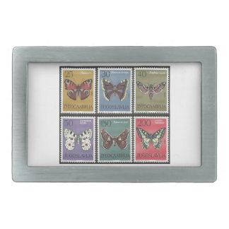 Schmetterlings-Porto-Briefmarken Rechteckige Gürtelschnalle