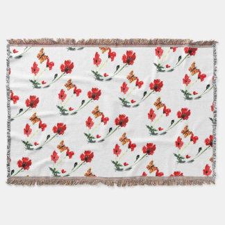 Schmetterlings-rote Mohnblumen-Blumen-Kunst Decke