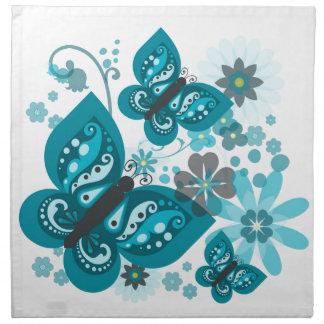 Schmetterlings-u. Blumen-(blaue) Stoff-Servietten Serviette