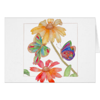 Schmetterlings- und Blumengrußkarte Karte