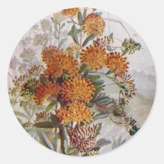 Schmetterlings-Unkraut-botanische Wildblume-runder Runder Aufkleber