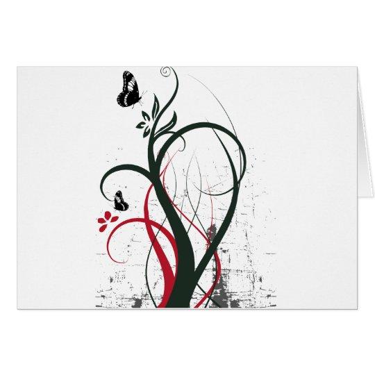 Schmetterlings-ursprüngliches schwarzes Rot des Grußkarte