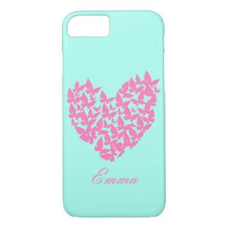 Schmetterlingsherzrosa-Liebe Watercolor iphone 6 iPhone 8/7 Hülle