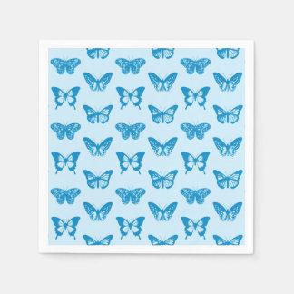 Schmetterlingsskizze, Cerulean und Himmelblau Papierservietten
