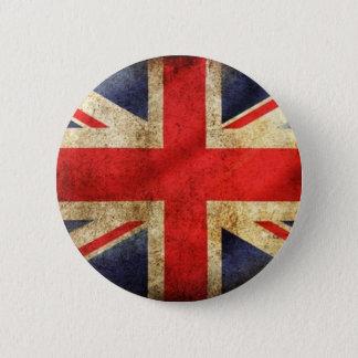 Schmutz-britischer Flaggen-Knopf zentriert Runder Button 5,1 Cm