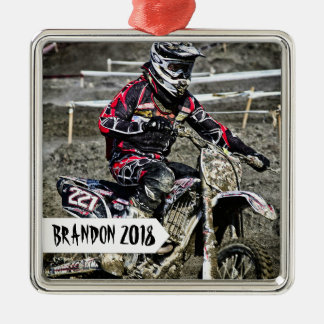 Schmutz-Fahrradracer-personalisiertes NamensFoto Quadratisches Silberfarbenes Ornament