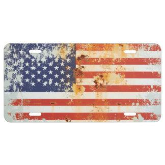 Schmutz-Metallamerikanische Flagge 3 US Nummernschild