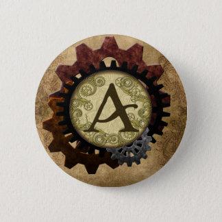 Schmutz Steampunk übersetzt Monogramm-Buchstaben A Runder Button 5,7 Cm