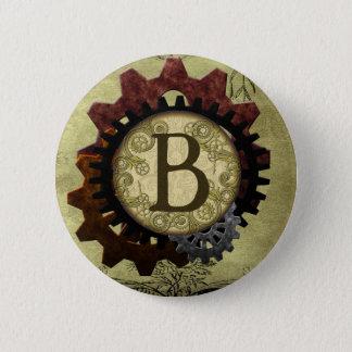 Schmutz Steampunk übersetzt Monogramm-Buchstaben B Runder Button 5,1 Cm