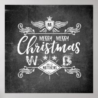 Schmutz-Tafel-frohe Weihnacht-Retro Typografie Poster