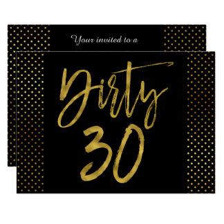 Schmutzige Folien-Geburtstags-Einladung des Gold30 Karte
