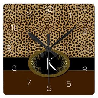 Schnalle herauf Leoparden Quadratische Wanduhr