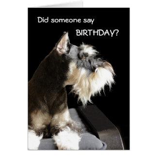 Schnauzer d'anniversaire carte de vœux