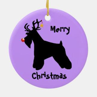 Schnauzer-Ren-Weihnachten Keramik Ornament