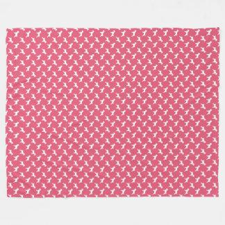 Schnauzer-weiße Silhouetten auf Rosen-Rosa Fleecedecke