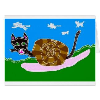 Schnecke-Katze Doreen und Katzen-und Mäusewolken Karte