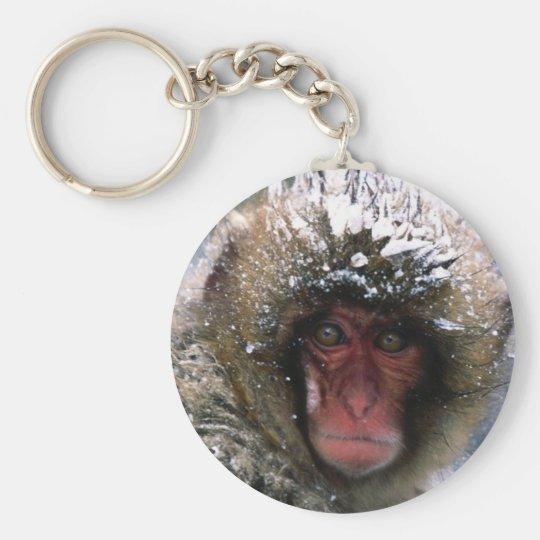 Schnee-Affe Standard Runder Schlüsselanhänger