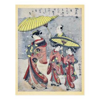 Schnee durch Suzuki, Harunobu Ukiyoe Postkarte