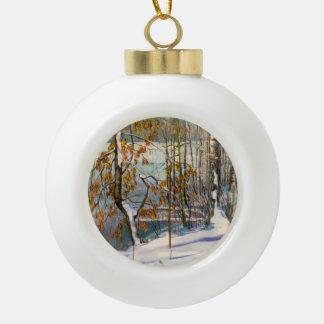 Schnee fiel keramik Kugel-Ornament