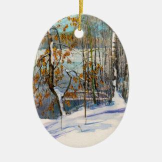 Schnee fiel keramik ornament
