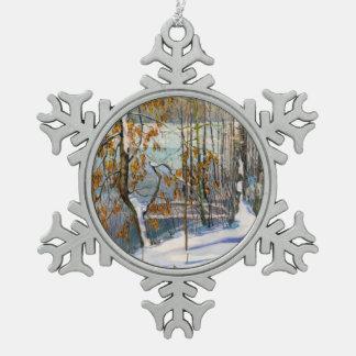 Schnee fiel schneeflocken Zinn-Ornament