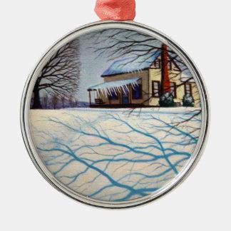 Schnee für Weihnachten Silbernes Ornament