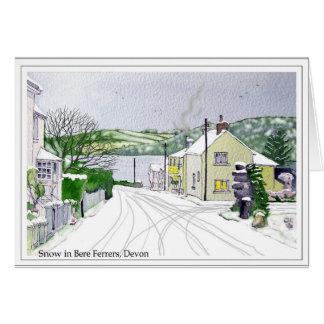 Schnee in der Gerste Ferrers, Devon Karte