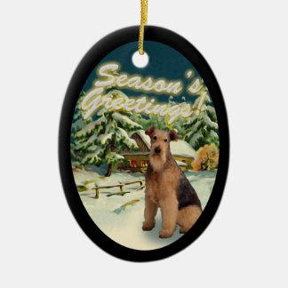 Schnee-Kabinen-Weihnachtsverzierung Airedales Ovales Keramik Ornament