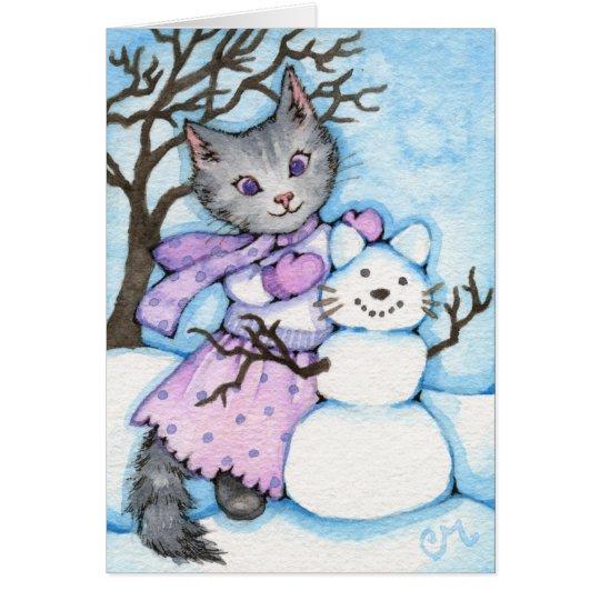 Schnee-Katze - niedliche Kitty-Gruß-Karte Grußkarte