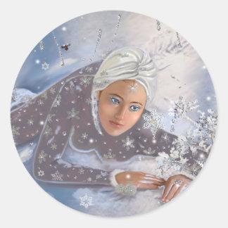 Schnee-Königin! Runder Aufkleber