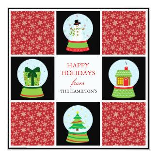 Schnee-Kugel-Feiertags-Karten Personalisierte Einladungskarten