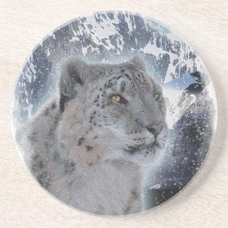 SCHNEE-LEOPARD bedrohte Art der großen Katze Sandstein Untersetzer