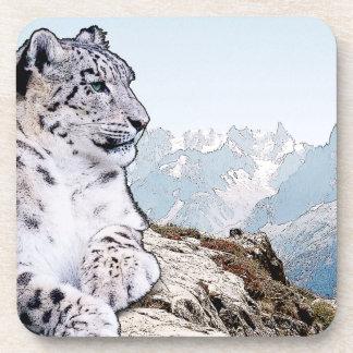 Schnee-Leopard Getränkeuntersetzer