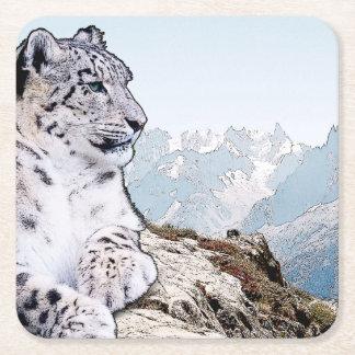 Schnee-Leopard Rechteckiger Pappuntersetzer