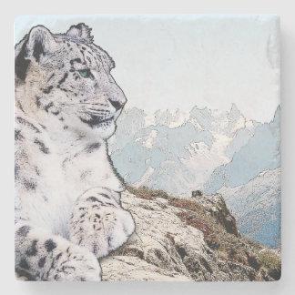 Schnee-Leopard Steinuntersetzer