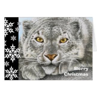 Schnee-Leopard-Weihnachtskarte Grußkarte