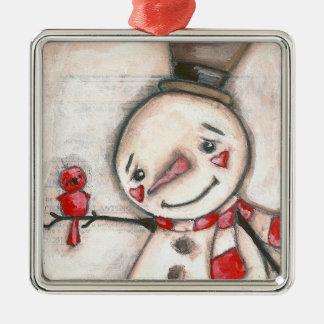 Schnee-Mann und roter Vogel - Verzierung Silbernes Ornament