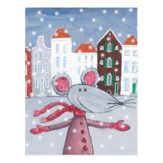 Schnee-Maus Postkarte