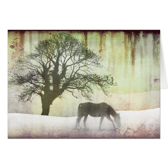 Schnee-Pferdefeiertags-Weihnachtskarte Karte