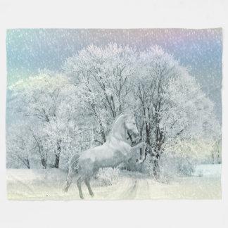 Schnee-PferdeFleece-Decke, groß Fleecedecke