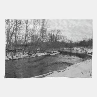 Schnee-Schönheits-James RiverGrayscale Geschirrtuch
