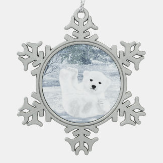 Schnee-Spaß - Eisbär CUB, Schneeflocken Zinn-Ornament